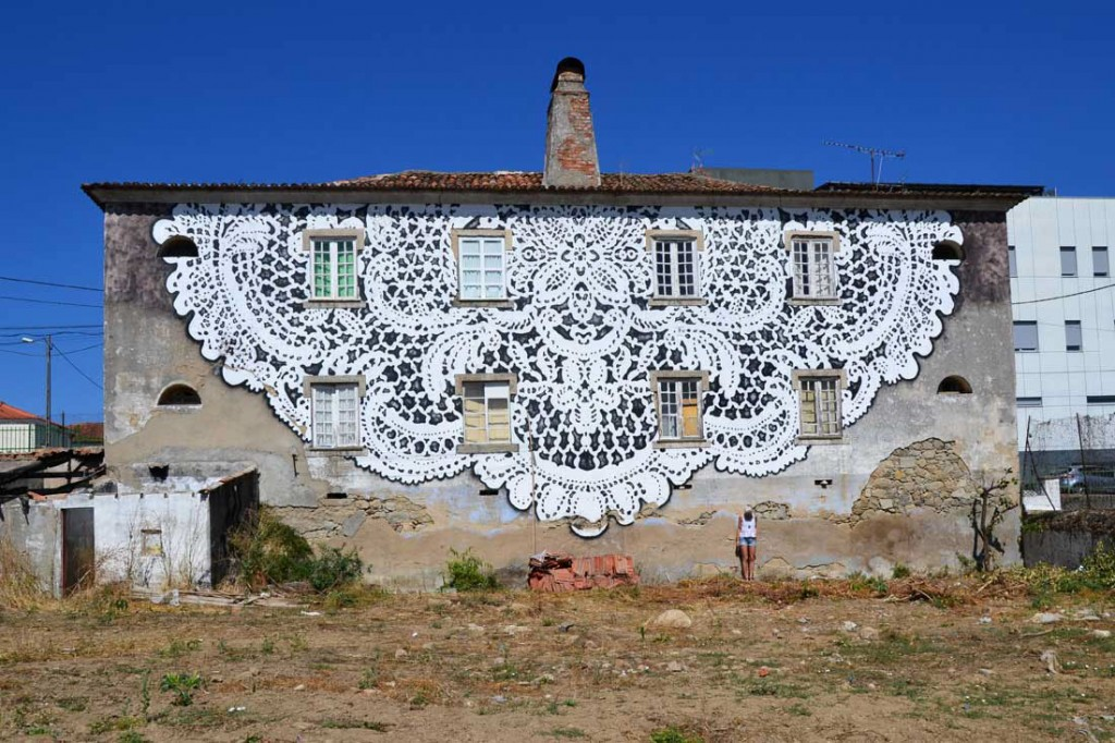 Street art dentelle par Nespoon